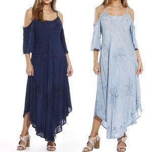 Dresses & Skirts - Cold Shoulder Boho Gauze Frill Maxi Dress, S-3X